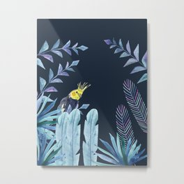 Cockatiel with tropical leaves and dark blue background Metal Print