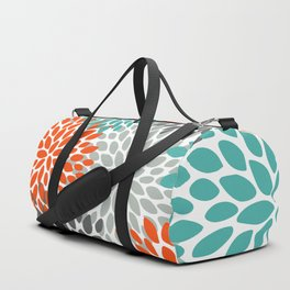 Floral Pattern, Abstract, Orange, Teal and Gray Duffle Bag