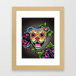 Smiling Pit Bull in Fawn - Day of the Dead Pitbull Sugar Skull Framed Art Print