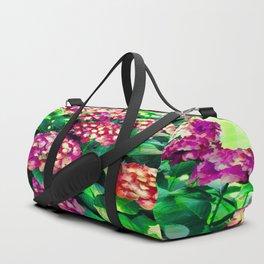 Garden Hydrangea - Raspberry Pink and Lavender Duffle Bag
