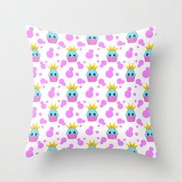 Cute little princess baby kawaii cupcakes, bold pink retro dots pretty purple girly nursery pattern Throw Pillow