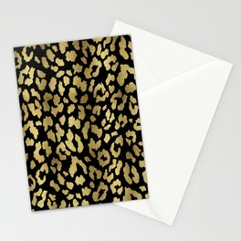 Cheetah Spots (Black And Gold) Stationery Cards