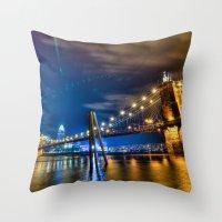 cincinnati Throw Pillows featuring Cincinnati Skyline by Dylan Thomas