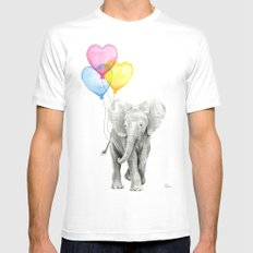 Elephant Watercolor with Balloons Rainbow Hearts Baby Whimsical Animal Nursery Prints MEDIUM Mens Fitted Tee White