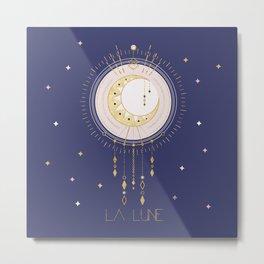 The Moon and stars - magical tarot illustration no6 Metal Print