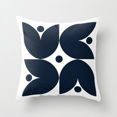 the tulips -navy Throw Pillow