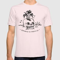 STRANDED IN PARADISE Mens Fitted Tee LARGE Light Pink