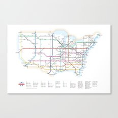 Interstate Highways as a Subway Map Canvas Print