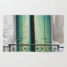 Green And Blue Balcony Doors, Venice Rug
