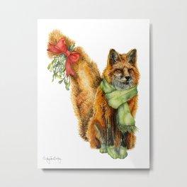Foxy Mistletoe Metal Print