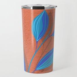 Terra Cotta Teal Blue Leaves Travel Mug