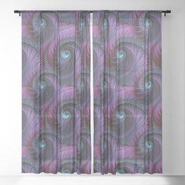 Fantastic Fractal Fantasies Purple And Teal Sheer Curtain