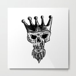 King Beard Skull Scratchboard Metal Print
