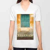 vietnam V-neck T-shirts featuring Antique Chinese Wall - VIETNAM by CAPTAINSILVA