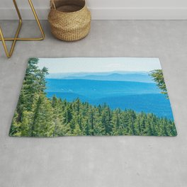 Artistic Brush // Grainy Scenic View of Rolling Hills Mountains Forest Landscape Photography Rug