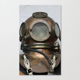 Antique vintage metal underwater diving helmet Canvas Print