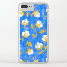 Painterly cotton flowers // in cobalt blue Clear iPhone Case