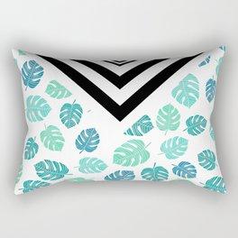 Modern tropical leaf monstera turquoise mint black white chevron Rectangular Pillow