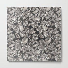 Modern Black White Floral Watercolor Pattern Metal Print