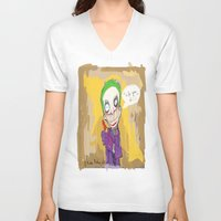 """suits V-neck T-shirts featuring The Joker"""" suits you sir """" by Funki monkey animation studio"""
