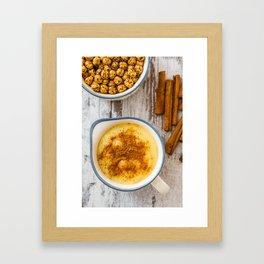 Boza or Bosa, traditional Turkish dessert made of millet or corn flour Framed Art Print