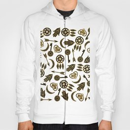 Black and Gold Popular Symbols on White Hoody