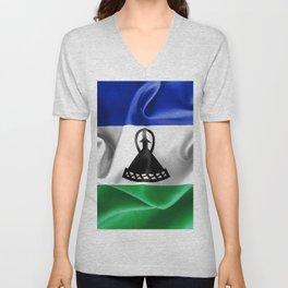 Lesotho Flag Unisex V-Neck