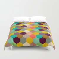 hexagon Duvet Covers featuring Fun Hexagon by Louise Machado