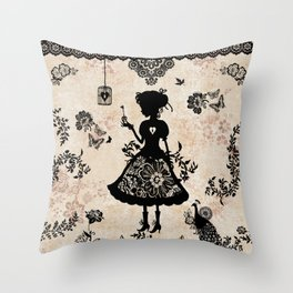 Miss Shadow Throw Pillow