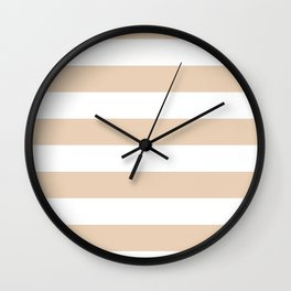 Horizontal Stripes - White and Pastel Brown Wall Clock