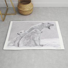 Polar Bear Family - Pencil Drawing Artic Wildlife Artwork Rug