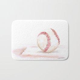 Baseball Watercolor Bath Mat