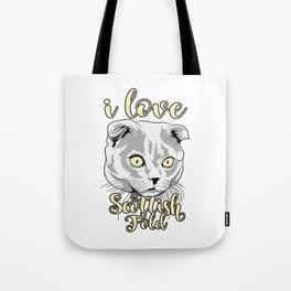 i love cat scottish fold T-shirt Tote Bag