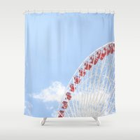 ferris wheel Shower Curtains featuring Ferris Wheel by Diana Nguyen