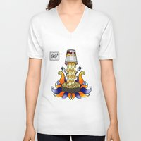 ramen V-neck T-shirts featuring Ramen God by NoodleRooster