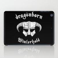 skyrim iPad Cases featuring Dragonborn Helmet (Winterhold, Dovahkiin, Skyrim) by SOULTHROW