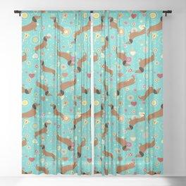 Dachshunds & flowers Sheer Curtain