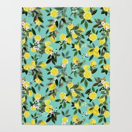 Summer Lemon Floral Poster