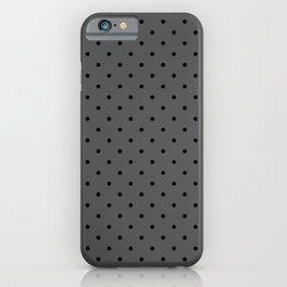 Small Black Polka Dots On Dark Grey Background iPhone Case