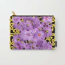 BLACK-YELLOW LILAC FLORAL CELTIC ART Carry-All Pouch
