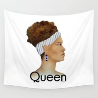 queen Wall Tapestries featuring Queen by Nina Bryant Studio