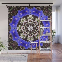 Blue and white floral mandala - Evolvulus and Diamond frost flowers 1 Wall Mural