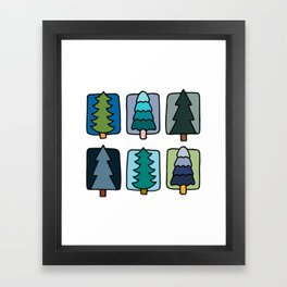 Cute Forest Cool Palette  Framed Art Print