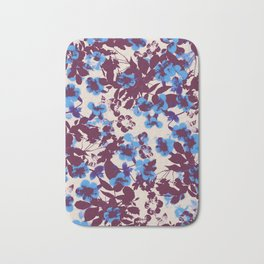 azure canary creeper flower with silhouette leaves Bath Mat