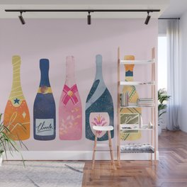 Champagne Bottles - Pink Ver. Wall Mural