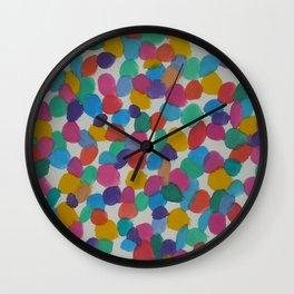 Rainbow Dots Abstract Watercolor Art Wall Clock