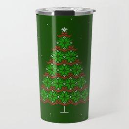 Fair isle knitted Christmas tree and snow Travel Mug