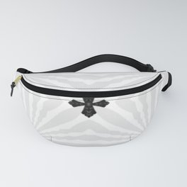 Bright White & Silver Pinwheels with Small Black Crosses Fanny Pack
