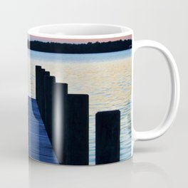 Boat Pier At Sunset Coffee Mug