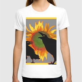 Two Contentious Crows/Ravens & Yellow Sunflower Grey Art T-shirt